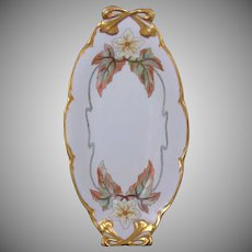 """Hutschenreuther Bavaria Floral Motif Handled Dish/Tray (Signed """"Stout""""/Dated 1923)"""