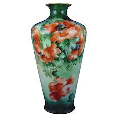 "PL Limoges Poppy Motif Vase (Signed ""Graham""/c.1905-1935)"