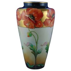 "Willets Belleek (American) D'Arcy's Art Studio Kalamazoo, MI Poppy Motif Vase (Signed ""LaRue""/c.1900-1920)"
