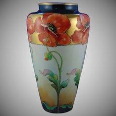 "Willets Belleek D'Arcy's Art Studio Kalamazoo, MI Poppy Motif Vase (Signed ""LaRue""/c.1900-1920)"