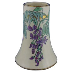 "American Satsuma Arts & Crafts Enameled Wisteria Motif Vase (Signed ""Mearle Beatrice Warner""/Dated 1923)"