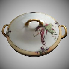 Hutschenreuther Selb Bavaria Parrot Design Covered Dish (c. 1930's)