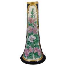 Lenox Belleek (American) Enameled Hollyhock Motif Vase (c.1906-1924)