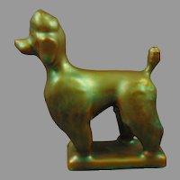 Zsolnay Hungary Eosin Green Poodle Figurine (c.1920-1940)
