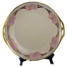 """Schonwald PSAA Bavaria Floral Design Serving Plate (Signed """"Elsa R. Nordin""""/Dated 1922)"""