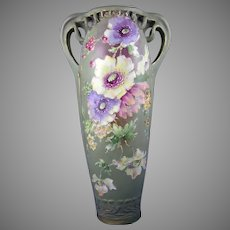 RStK Amphora Austria Art Nouveau Enameled Floral Design Vase (c.1900-1905)
