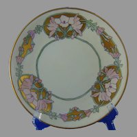 "Limoges ""Mark 6"" ""Wild Hollyhock"" Design Plate (Signed/Dated 1914) - Keramic Studio Design"