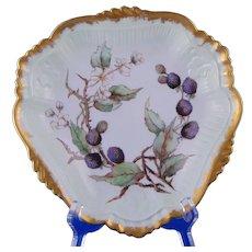 Laviolette Limoges Black Raspberry Design Centerpiece Bowl (Signed/Dated 1892)