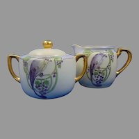 KPM Germany Bird Design Creamer & Sugar Set (c.1917-1927) - Keramic Studio Design