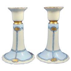 """T&V Limoges Floral """"Bouncing Bets"""" Design Candlesticks (Signed """"McCarty""""/Dated 1910) - Keramic Studio Design"""