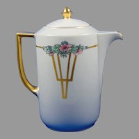 """Thomas Bavaria Floral Design Coffee/Chocolate Pot (Signed """"Chauboin""""/Dated 1923)"""