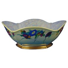 "Porcelain Blank Floral Design Centerpiece Bowl (Signed ""Alpha Walker Witt""/Dated 1939)"