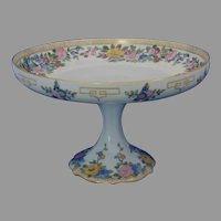 """B&Co. Limoges Enameled Floral Motif Pedestal Dish/Compote (Signed """"A. Mutrie""""/Dated 1916)"""