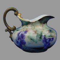 T&V Limoges Grapes Design Pitcher (Signed/c.1892-1920)