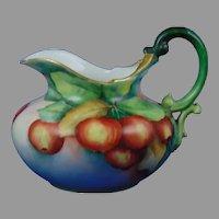 """T&V Limoges Apple Design Pitcher (Signed """"A.D.S.""""/c.1892-1920)"""
