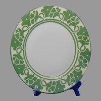 """Haviland Limoges Green Monochromatic Floral Design Plate (Signed """"M.E. Hogeboom""""/c.1905-1930)"""