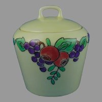 "PM Bavaria Fruit Design Condiment Jar (Signed ""Flo""/Dated 1928)"