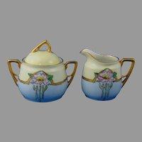 """KPM Germany Wild Rose Design Creamer & Sugar Set (Signed """"M.J. Smeets""""/c.1904-1930's)"""