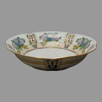 "JC Bavaria Floral & Geometric Design Centerpiece Bowl (Signed ""Daisy Nance""/c.1910-1930)"