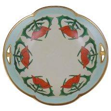 """Porcelain Blank Arts & Crafts Poppy Design Bowl (Signed """"Pearl E. Kiser""""/Dated 1924)"""