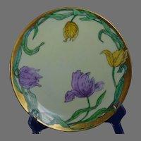 "Thomas Bavaria Arts & Crafts Tulip Motif Plate (Signed "" E.R. Frederick""/c.1908-1930)"
