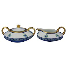 """Heinrich & Co. (H&Co.) Selb Bavaria Art Deco Floral Creamer & Sugar Set (Signed """"Amy M. Smith""""/Dated 1914)"""