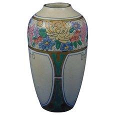 "American Satsuma Enameled Floral Motif Vase (Signed ""E. Wagner""/Dated 1915)"