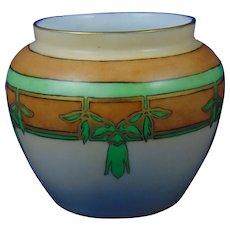 """Favorite Bavaria Arts & Crafts Leaf Motif Vase (Signed """"M.K. Shoup""""/Dated 1915) - Keramic Studio Design"""