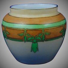 """Hutschenreuther Favorite Bavaria Leaf Motif Vase (Signed """"M.K. Shoup""""/Dated 1915) - Keramic Studio Design"""