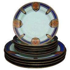 Nippon & Noritake Arts & Crafts Dessert Plate Set (c.1910-1930)