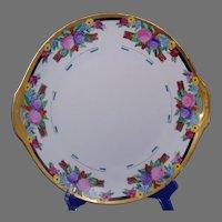 """Jaeger & Co. (JC) Bavaria Arts & Crafts Floral Design Handled Plate (Signed """"M.B.""""/Dated 1922) - Keramic Studio Design"""