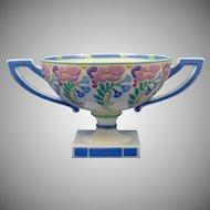 """Lenox Belleek (American) Enameled Floral Design Handed Pedestal Bowl (Signed """"A. Holt""""/c.1906-1924)"""