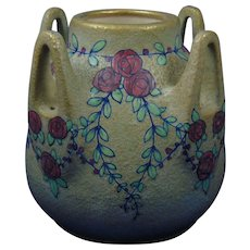 Amphora Austria Arts & Crafts Enameled Rose & Garland Motif Vase (c.1899-1905)