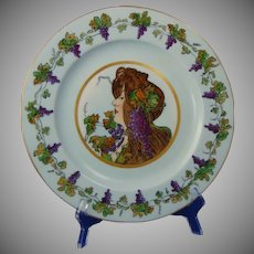 "Rosenthal Selb Bavaria ""Privat Livemont Grape Lady"" Design Plate (c.1907-1940) - Keramic Studio Design"