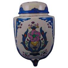 "American Satsuma Arts & Crafts Enameled Footed Urn/Potpourri Jar (Signed ""L. Horlocker""/Dated 1916)"