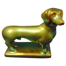 Zsolnay Hungary Eosin Green Dachshund Figurine (c.1920-1940)