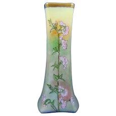 """Pirkenhammer Fischer & Mieg Austria Hollyhock Motif Vase (Signed """"H. Franke""""/c.1899-1918)"""