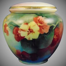 "GDA Limoges Nasturtium Motif Covered Jar (Signed ""MR""/c.1915-1941)"