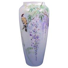 Jaeger & Co. (JC) Bavaria Arts & Crafts Bird & Wisteria Design Vase (c.1902-1920)
