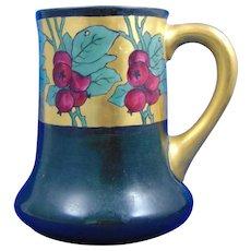 """Porcelain Blank Arts & Crafts Crab Apple Motif Tankard (Signed """"J. Burke""""/Dated 1915)"""