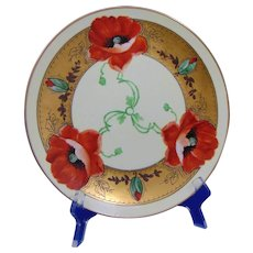 "Edward W. Donath Studio Poppy Design Plate (Signed ""Kitt""/c.1906-1928)"