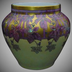Large William Guerin & Co. (WG&Co.) Limoges Arts & Crafts Lustre Vine & Berry Motif Jardinière/Vase (c.1900-1932)
