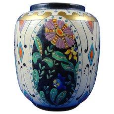 "American Satsuma Enameled Floral & Geometric Design Vase (Signed ""B. Zumsteg""/c.1910-1930)"