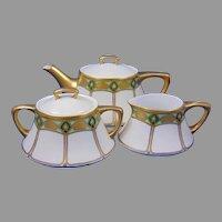 Jaeger & Co. (JC) Bavaria Arts & Crafts Geometric Design Teapot, Creamer & Sugar Set (c.1902-1935)