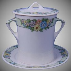 "Hutschenreuther Bavaria Floral Motif Condensed Milk Container Set (Signed ""M.E. Murphy""/c.1910-1930)"
