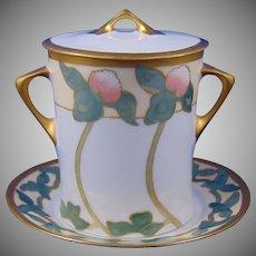 Hutschenreuther Selb Bavaria Clover Motif Condensed Milk Container Set (Signed/c.1911-1930) - Keramic Studio Design