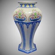 """Lenox Belleek (American) Enameled Floral Design Vase (Signed """"A.H.V.""""/c.1906-1924)"""