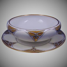 Hutschenreuther Favorite Bavaria Butterfly Design Centerpiece Bowl & Plate Set (Signed/Dated 1914) - Keramic Studio Design