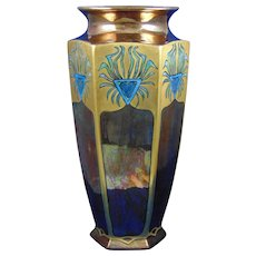 Bernardaud & Co. (B&Co.) Limoges Arts & Crafts Copper Lustre Stylized Peacock Feather Motif Vase (c.1910-1930)