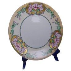 """Tressemann & Vogt (T&V) Limoges Arts & Crafts """"Wild Hollyhocks"""" Design Plate (Signed """"JG""""/c.1913-1930) - Keramic Studio Design"""